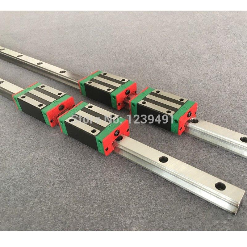2 trilho de guia linear quadrado hgr20 hgh20 20mm 200-1500mm + 4 carruagens hgh20ca/hgw20cc do bloco da corrediça para a gravura do roteador do cnc