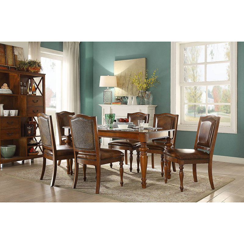 US $136.0 |Leather dining room chair and modern wooden dining table of  dining room furniture set WA644-in Dining Room Sets from Furniture on ...