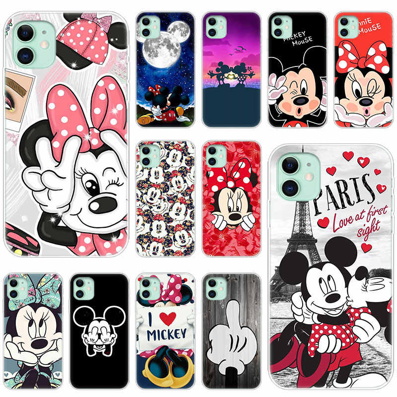 Hot Cute Cartoon Mickey Minnie Silicone Transparent Case for Apple iPhone 11 Pro XS Max X XR 6 6s 7 8 Plus 5 5s SE Fashion Cover