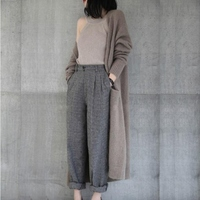 Women's jacket twisted wool sweater casual solid color round neck retro long sleeved loose cardigan warm long knit jacket