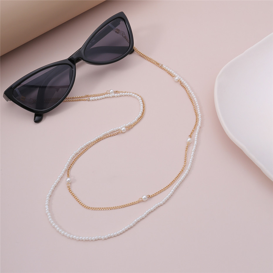 Fashionable pearl glasses chains glasses keeper or mask holder lanyard sunglasses cords faux pearl glasses cords reading glasses leash