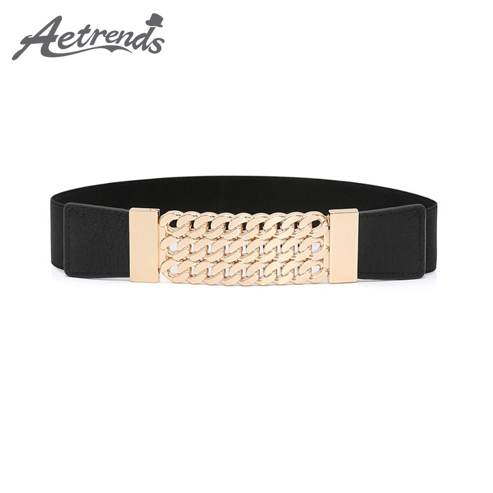 [AETRENDS] Women Elastic Stretchy Retro Wide Waist Cinch Belt D-0116