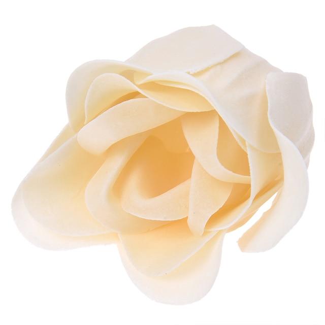 6 Pcs Bathing Shower Off White Rose Flower Bath Soap Petals w Heart Shaped Box 3
