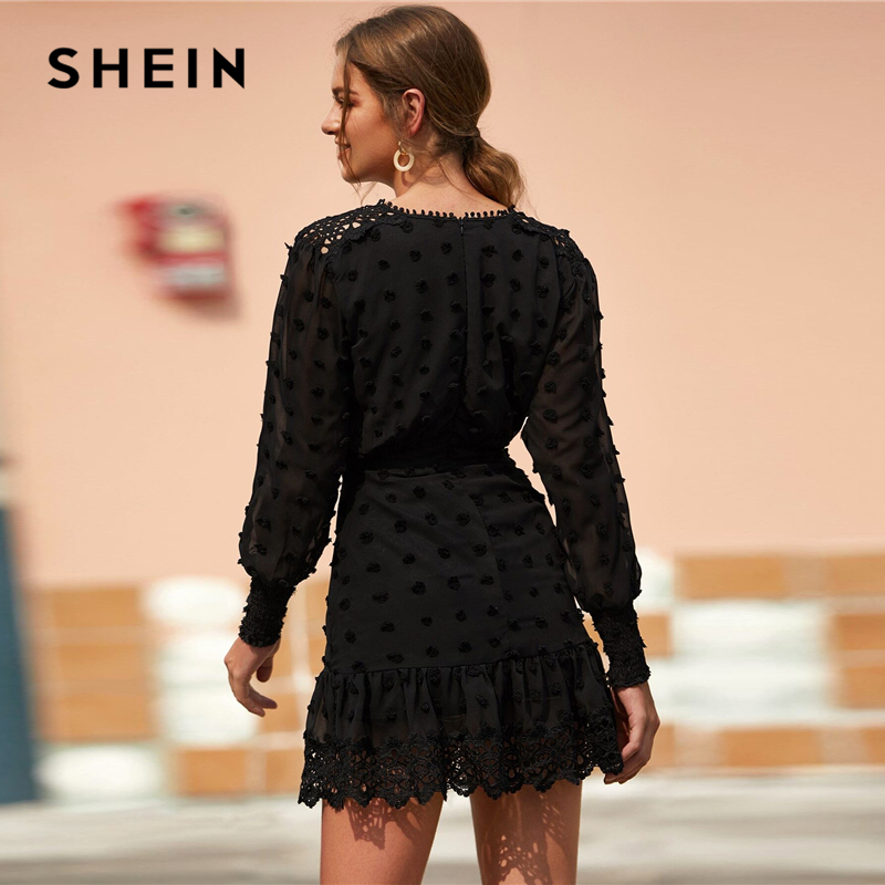 SHEIN Black Swiss Dot Guipure Lace Hem Fitted Chiffon Dress Women Spring High Waist Bishop Sleeve Elegant Shirred Short Dresses 2