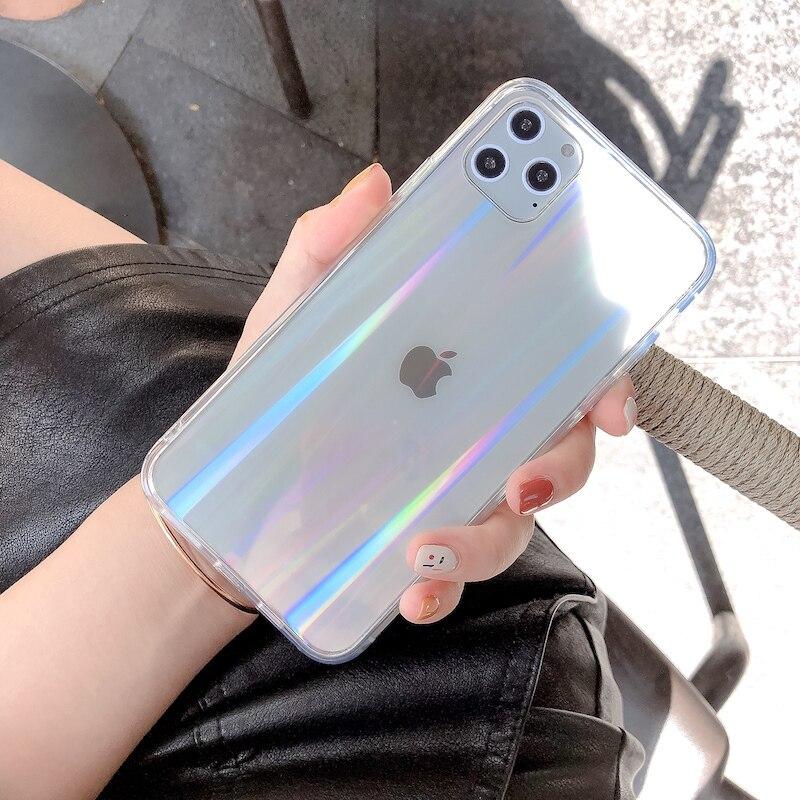 Радужный лазерный чехол для iPhone X XR XS Max 11 11 Pro Max 6 6s 7 8 Plus XS роскошный цветной градиентный прозрачный акриловый чехол для телефона Специальные чехлы      АлиЭкспресс