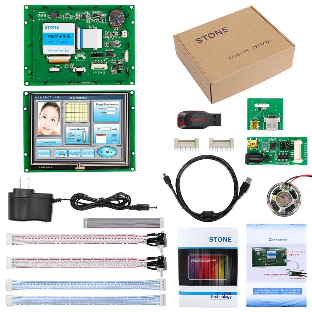 5.6 inch HMI LCD Panel with Controller Board + Touchscreen + RS232 RS485 TTL Interface Support Any MCU
