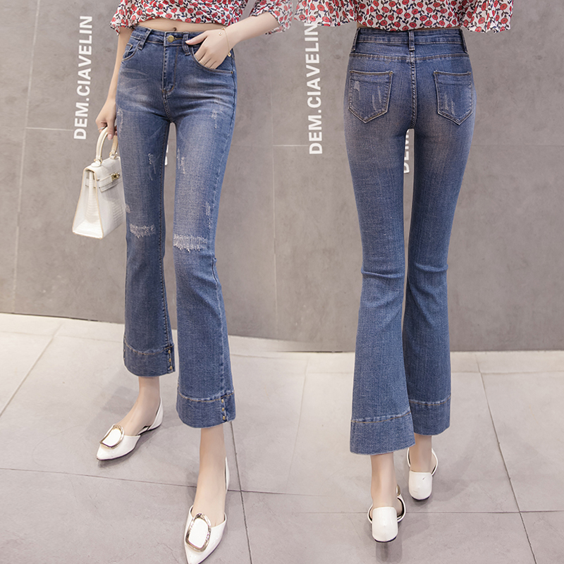 Women Clothes Flare Jeans High Waist Streetwear Blue Pants Wide Leg Denim Vintage 2020 Fashion Skinny Harajuku Slouchy Ripped