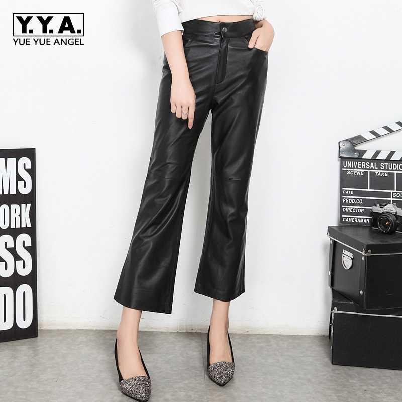 Pantalons 2020 yeni bayan Streetwear uzun pantolon Calcas ince pantolon hakiki deri koyun derisi katı kadın moda Flare pantolon