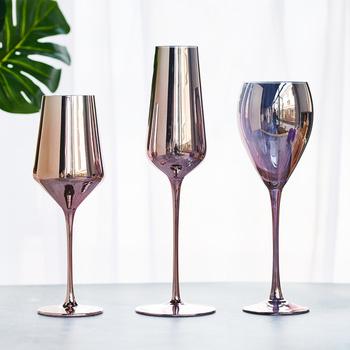 Galwanicznie lampka do wina bezołowiowy kryształowy kieliszek do wina lampka do wina lampka do czerwonego wina lampka do wina różowe złoto galwanicznie kieliszek do szampana tanie i dobre opinie LISM ROUND Ce ue Lfgb Szkło Crystal Glass 301mL-400mL Nordic Style Independent Figure Photo Wine Glass