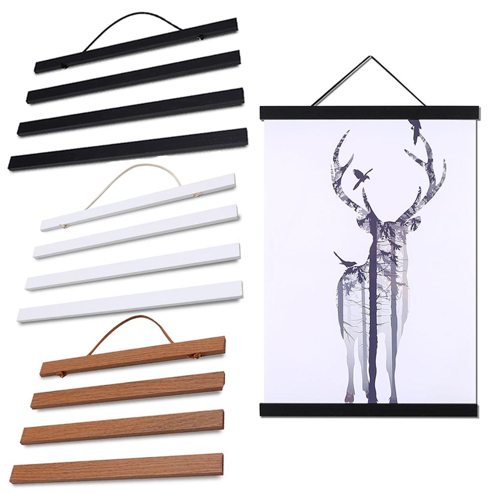 Магнитный постер, деревянная настенная фоторамка, подвес для картин, держатель постеров, подвесные рулоны для украшения стен дома, 21-50 см