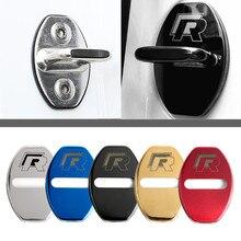 Крышка дверного замка автомобиля для Volkswagen Passat Sagitar Tiguan с лого R Нержавеющая сталь дверные замки Защитная крышка Кепки 4 шт./компл