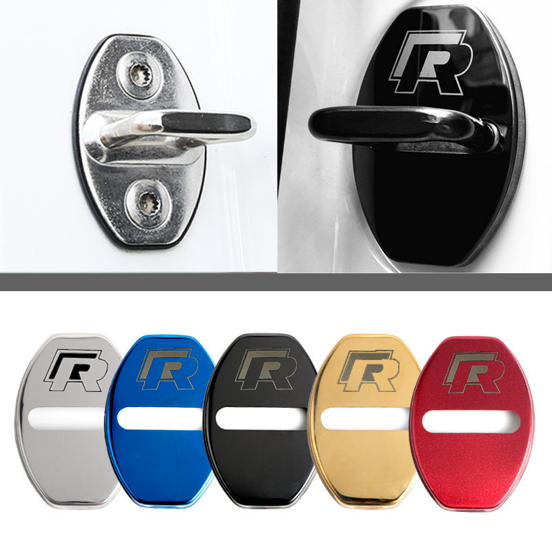 Car Door Lock Cover For Volkswagen Passat Sagitar Tiguan With R Logo Stainless Steel Door Lock Cover Protection Cap 4pcs / Set