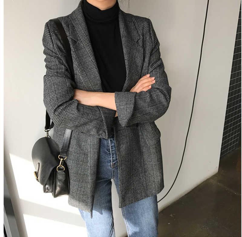 Colorfaith Baru 2019 Musim Gugur Musim Dingin Wanita Blazer Kotak-kotak Double Breasted Kantong Formal Jaket Berlekuk Pakaian Luar Atasan JK7113
