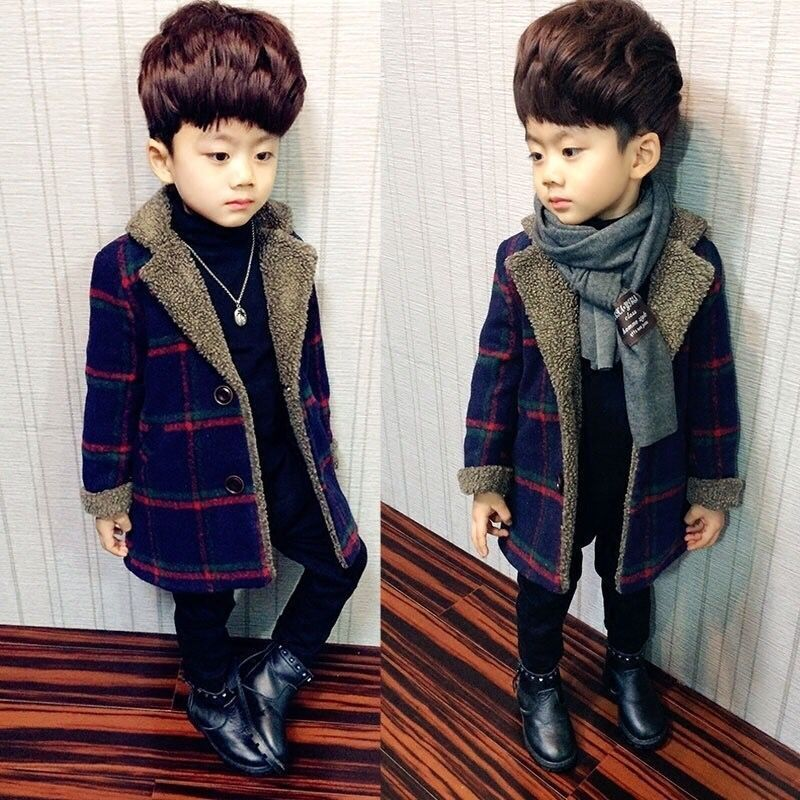 Children's Woolen Jackets 2019 New Toddler Winter Clothes Kids Boys Casual Plaid Jackets Warm Coats Fashion Long Jackets For Boy