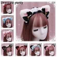 Headband Hair-Accessories Ribbon-Bow Cat Ear Cosplay Kawaii Plush Sweet Girls Women Lace