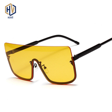 New Fashion Yellow Oversized Siamese Sunglasses Women Brand Designer Luxury Vintage Sun glasses Big Frame Eyewear Glasses
