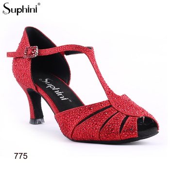 Latin-dance-shoes Red glitter Cystal Red Latin Shoes Woman Salsa Dance Shoes low heel ballroom open toe T strap