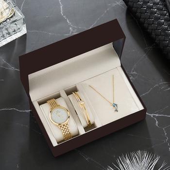 2020 luxury watch gift sets women's  gold wristwatches with stainless steel bracelet necklace rhinestones box set часы женские