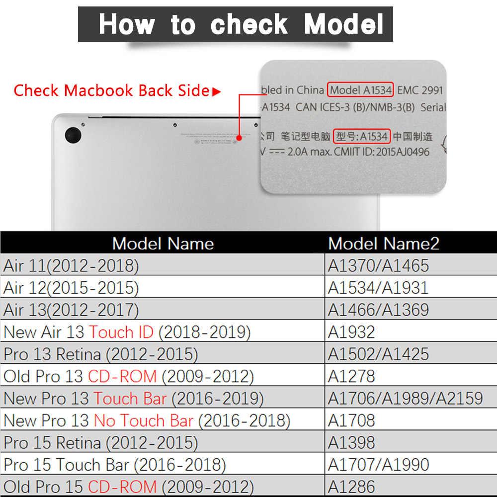 5 in 1 paket için Crystal clear durumda macbook Pro 13 2020 A225 A2289 Retina hava Pro 13.3 15 16 dokunmatik bar 2019 A2159 sert kapak