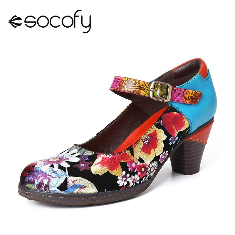 SOCOFY Painted Sunflowers Genuine Leather Elegant Mary Jane Pumps Ladies Shoes Exquisite Women Shoes Botas Mujer 2020