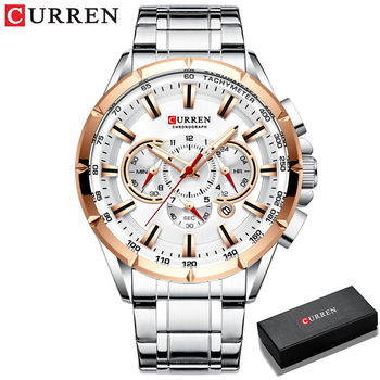 CURREN New Causal Sport Chronograph Men's Watches Stainless Steel Band Wristwatch Big Dial Quartz Clock with Luminous Pointers 14