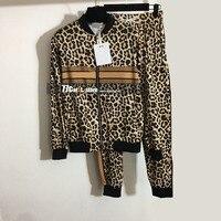 Designer de luxo 2 conjuntos de duas peças para as mulheres manga longa com zíper tops casacos e calças casuais leopardo carta impressão roupas