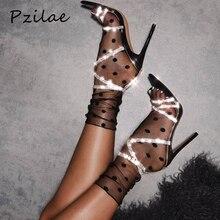Pzilae/Новинка; летние женские босоножки на тонком высоком каблуке; пикантные женские свадебные вечерние туфли; босоножки с ремешком на щиколотке и острым носком, украшенные стразами