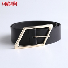 Tangada England Style Fashion Metal Ring Buckle Causal Belt Women Genuine Leather 6D07