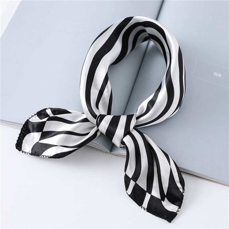 2020 New Women Silk Scarf 50cm Square Hair Band Neck Wraps Women Foulard Neckerchief Print Satin Scarves For Bag Tie