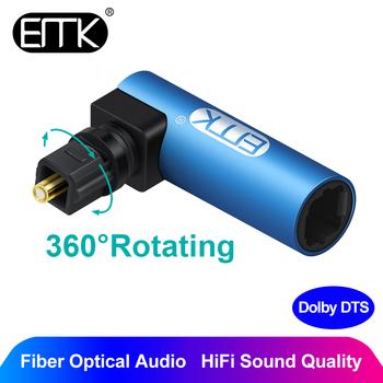 EMK kątowy cyfrowy optyczny przewód audio SPDIF Toslink 90 stopni adapter optyczny 360 obrotowy obrotowy do głośnika Soundbox TV tanie i dobre opinie Mężczyzna Interfejs optyczny Męski-żeński LS90 Toslink 90 degree adapter Kabli Światłowodowych female Pakiet 1 Woreczek foliowy
