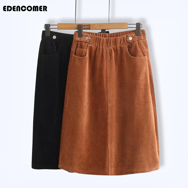 New Corduroy Mid-length Hemispheric A-shaped Skirt for Large-size Womens Autumn Skirts 2019 Plus Size Vintage