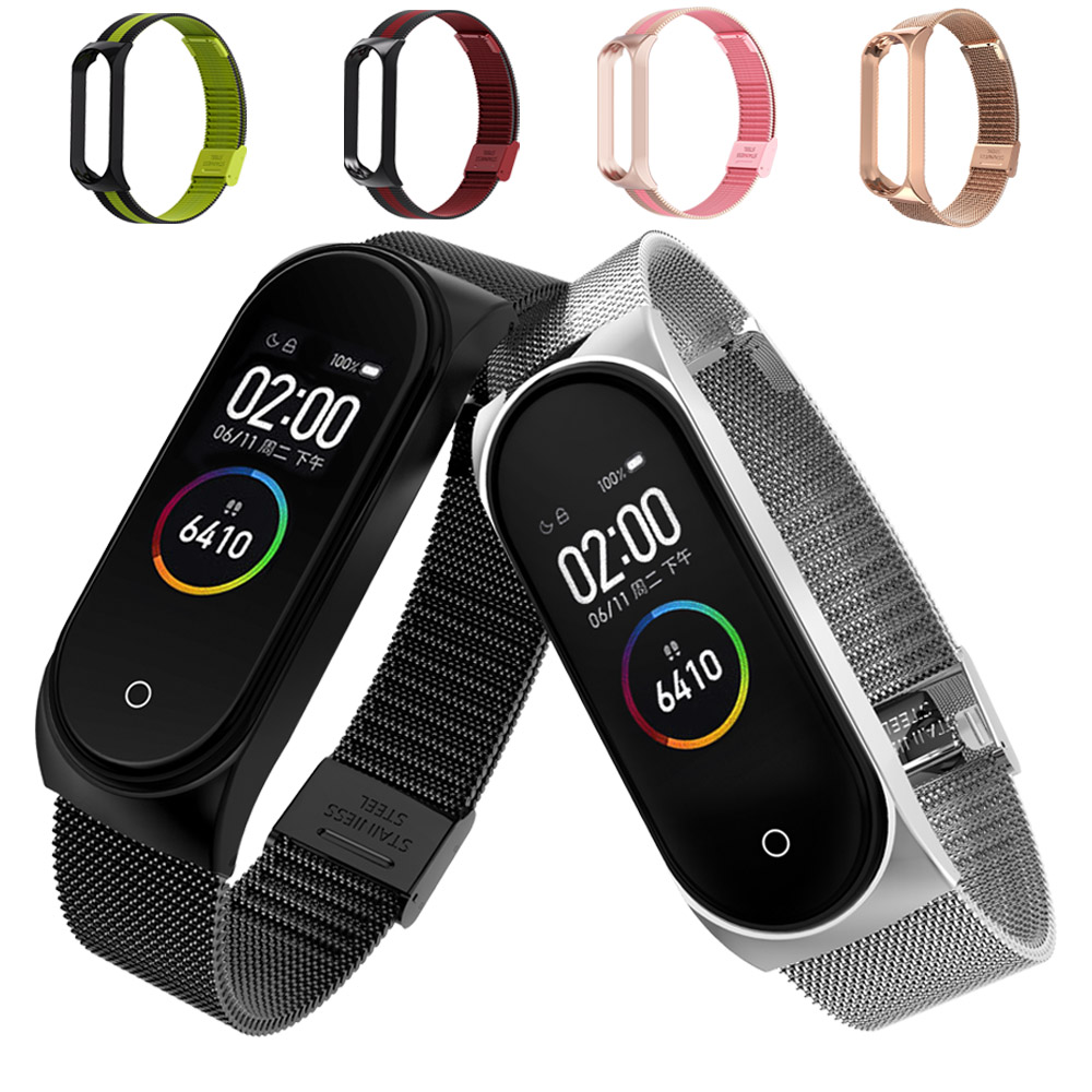 Metal Stainless Steel Strap For Xiaomi Mi Band 4 Wrist Strap For Xiaomi Miband 4 3 Bracelet For Mi Band 4(China)