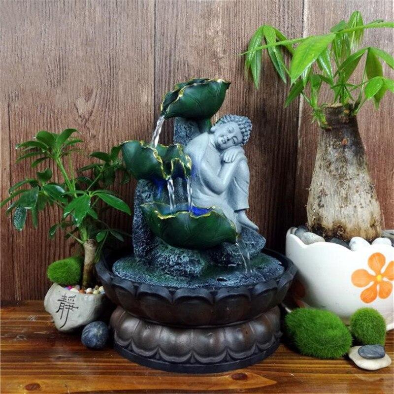 Ręcznie robiony siedzący śpiący posąg buddy płynącą wodą Led fontanna Zen salon Feng Shui Waterscape ozdoby domowe rękodzieło