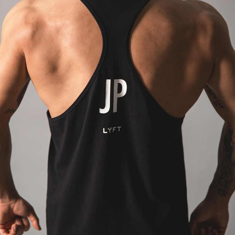 LYFT-JP 운동 체육관 망 탱크 탑 조끼 근육 민소매 운동복 셔츠 스트링거 의류 보디 빌딩 싱글 상품 코튼 피트니스