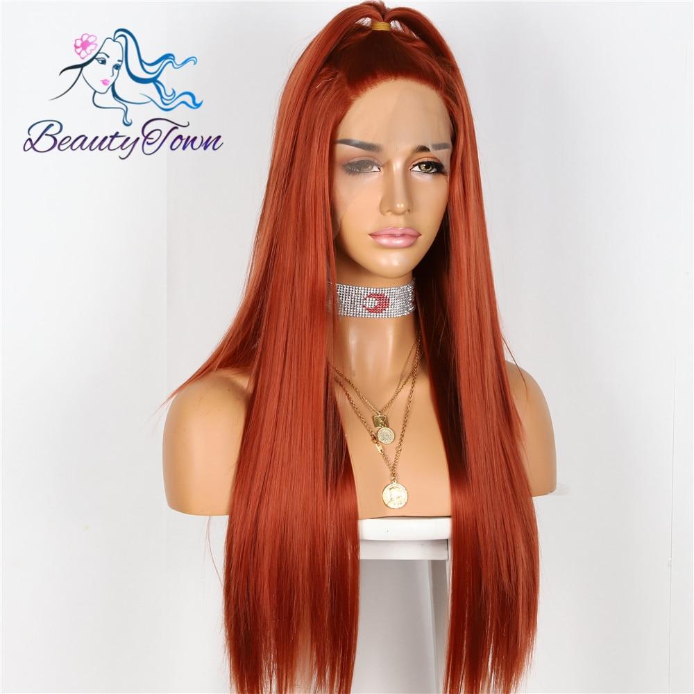 BeautyTown, Color rojo cobrizo atado a mano, resistente al calor, Cosplay liso para chica celebridad, fiesta de boda, peluca con malla frontal sintética