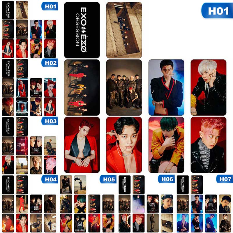 10Pcs/Set KPOP EXO New Album OBSESSION Crystal Card Sticker Sticky Photo Cards Office Supplies Stationery Set Gifts