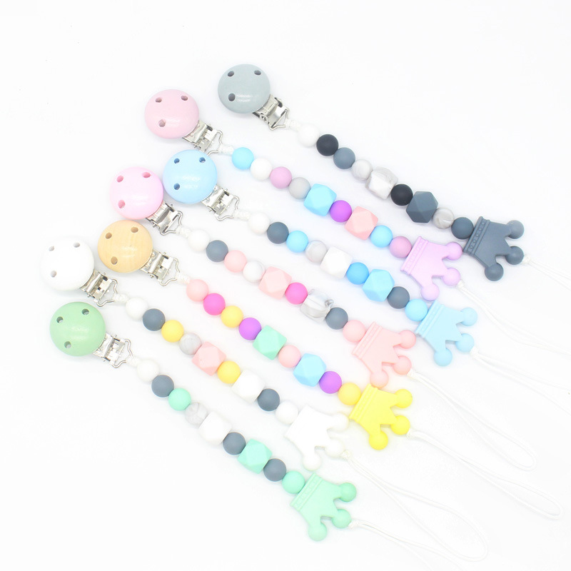More Colors New Baby Pacifier Clip Chain Silicone Beads Leash Strap Food Grade Crown Teether Nipple For Infant Kids Accesories