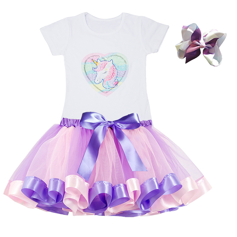 Gilrs Unicorn Princess Dress Children's Birthday Party Dresses Outfits For 2 to 6 Years Kids Girl Clothes Baby Girl Clothing 6
