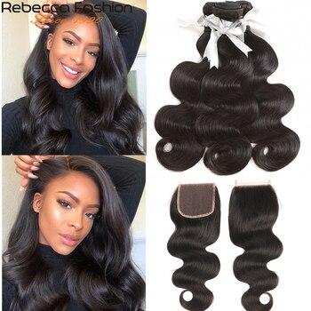 Rebecca Brazilian Body Wave 3 Bundles With Closure Remy Human Hair