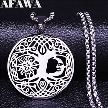 2021 Irish Knot Sun Moon Stainless Steel Chain Necklace Women Silver Color Necklace Jewelry joyeria acero inoxidable N4410S02