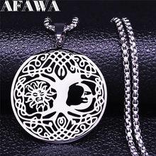 Collar de cadena de acero inoxidable con forma de luna y nudo irlandés para mujer, joya de Color plateado, joyería, joyería, acero inoxidable, 2021