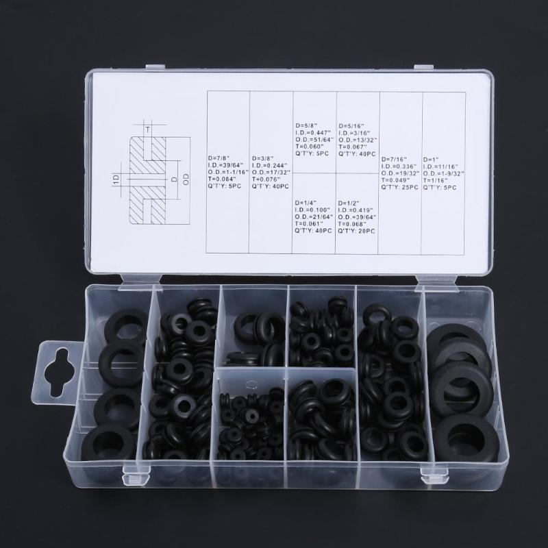 180pcs Rubber Grommets 8Sizes Firewall Hole Plug Retaining Ring Set Car Electrical Wire Gasket Kit For Cylinder Valve Water Pipe