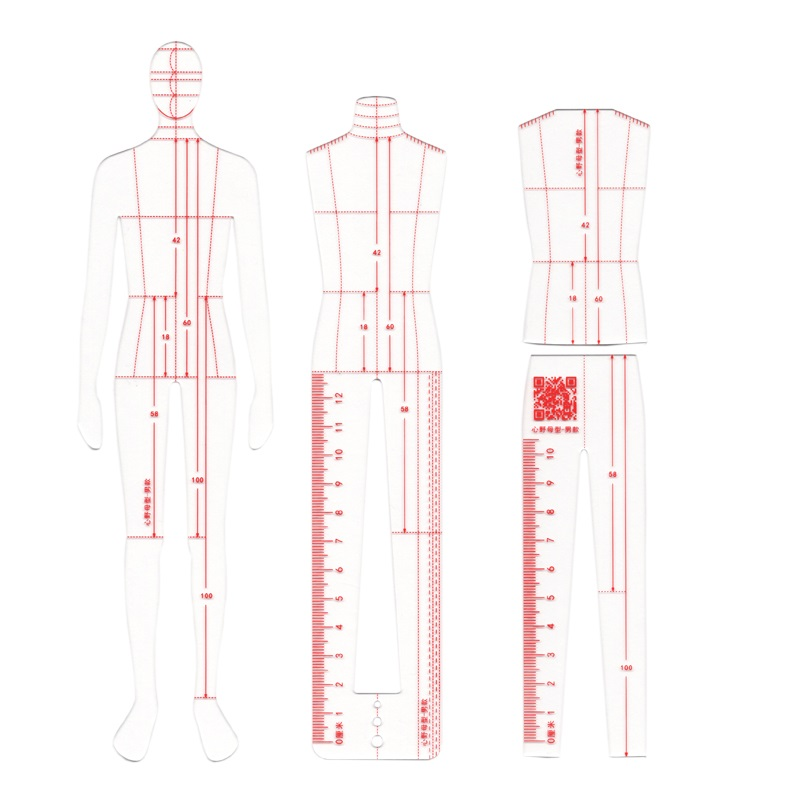 Male Fashion Ruler Garment Design Effect Style Men Drawing Template Ruler Original Design Model 25cm Height