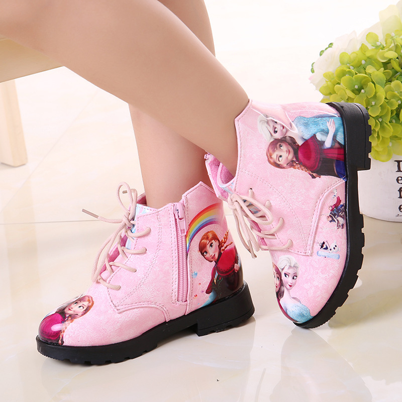 Image 2 - Winter Girl Shoes Ice And Snow Princess Shoes Short Boots Baby Shoe Cartoon Children Snowfield Leather Martin Boots Child Shoes-in Boots from Mother & Kids