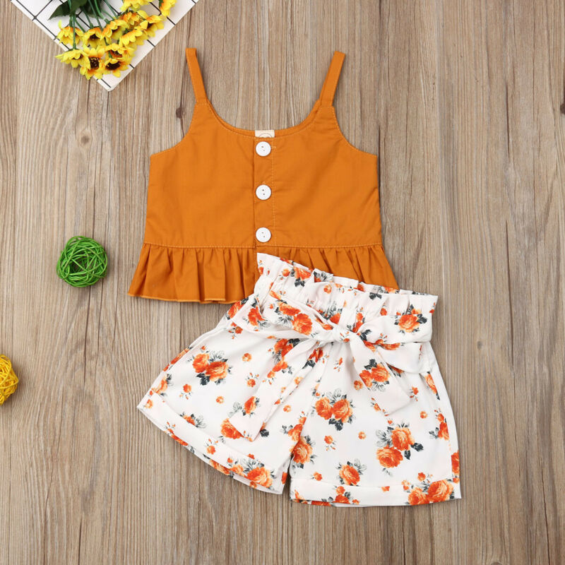 Emmababy  2pcs Floral Toddler Baby Girl Vest Crop Tops Shorts  Outfits Clothes Summer