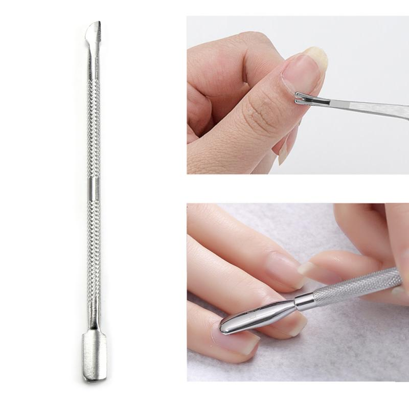 2PCS Nail Art Tools Stainless Steel Cuticle Pusher Spoon Remover Nail Care Cleaner Manicure Nail Art Pedicure Tool