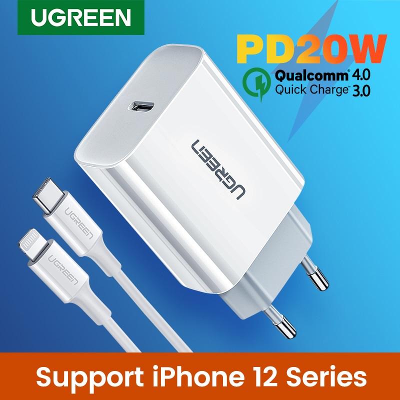 Ugreen carga rápida 4.0 3.0 qc pd carregador 20w qc4.0 qc3.0 usb tipo c carregador rápido para iphone 12 x xs 8 xiaomi telefone pd carregador