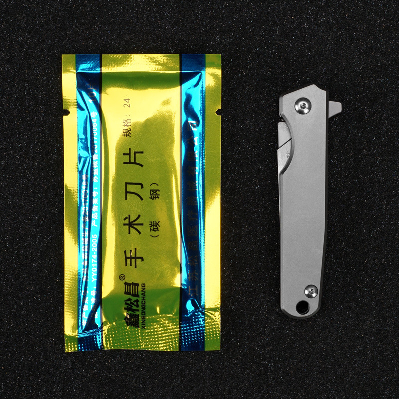 Tools : EDC Titanium Alloy Folding Knife Mini Scalpel Open Express Multifunctional Tool