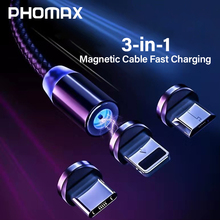 PHOMAX USB 3 in 1 Magnetic Cable 1M for iPhone X Xs & USB Type C Cable & Micro USB Nylon Braided for Samsung S9 8 Xiaomi Huawei аксессуар prolike usb 3 0 micro bm usb3 1 type c 1m pl tc microusb3 0 1