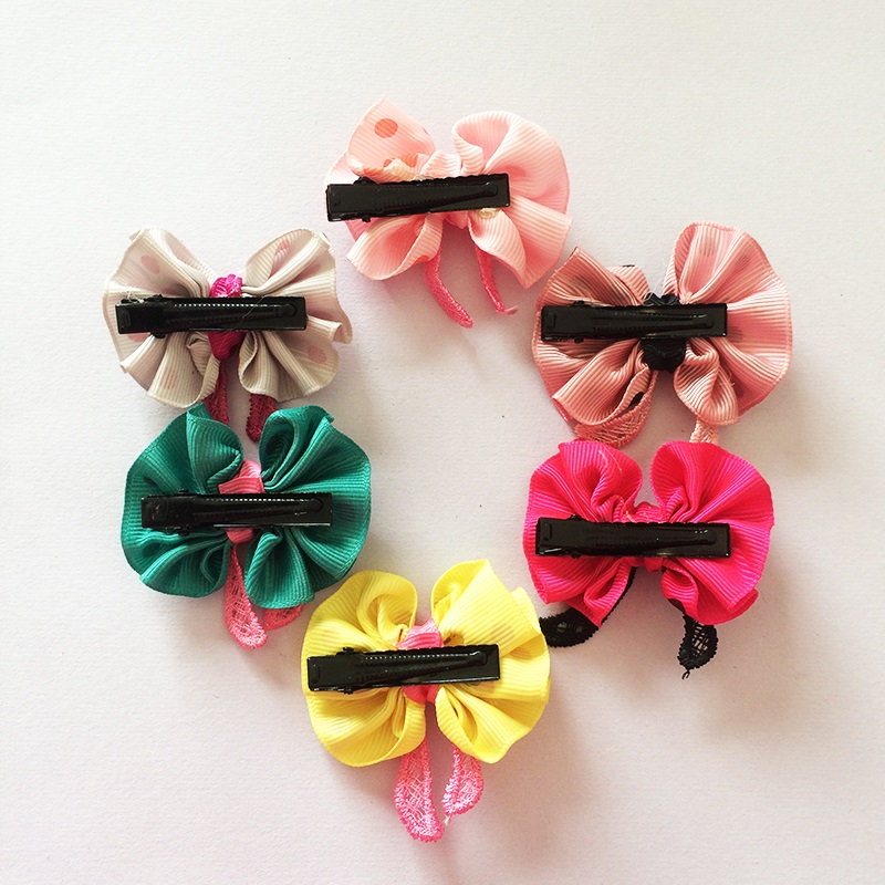 1 Pcs lot New Cute Girls Hairpin Ribbon Bow With Flowers Hair Clips Dot Printed Rayon Material Hair Accessories in Hair Accessories from Mother Kids
